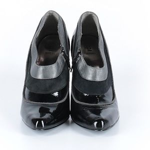 Bakers Shoes - Bakers black patent suede silver ankle boots 7M